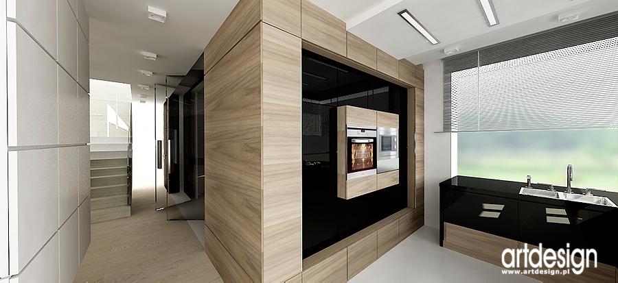 Meble kuchenne pokryte białym lakierem, miejscami połączone z hebanowym forni   -> Kuchnia Art Design